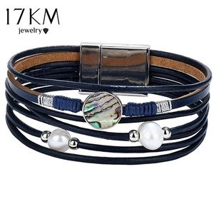 Jewelry - Boho Chic multi layer bracelet Navy Blue